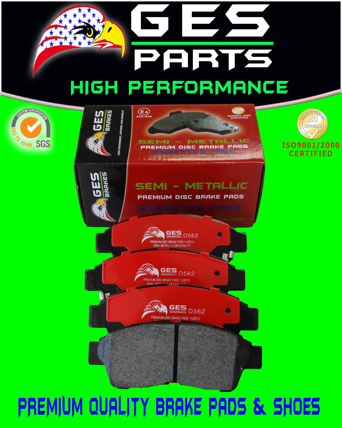 Premium Quality Toyota Camry Celica Corolla RAV4 Front Brake Pads D562