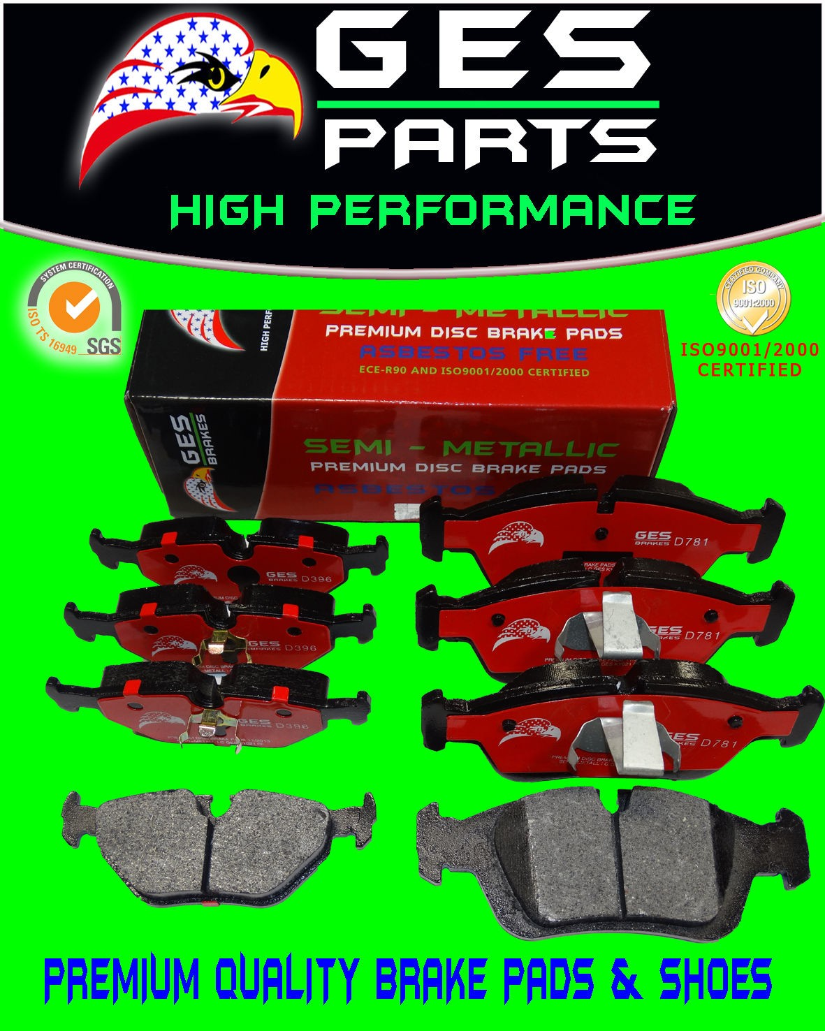 Premium Quality 2 Front & Rear Brake Pads BMW 318i 318is 318ti 323Ci 323i 323iC  323is 328i 325Ci 325i 325is 325xi Z4 D781 & D396