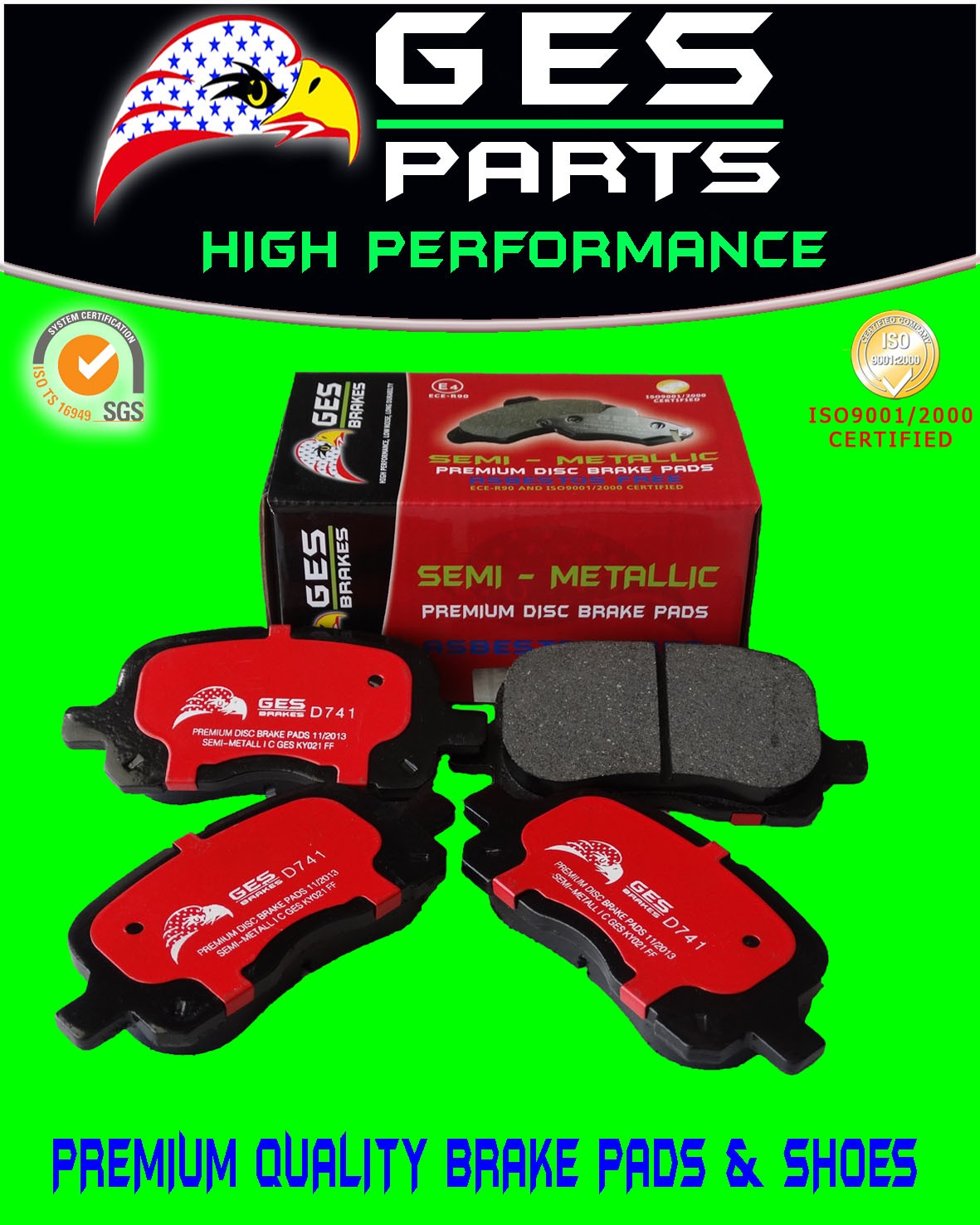 98-02 Toyota Corolla & Chevrolet Prizm Premium Quality Front Brake Pads D741